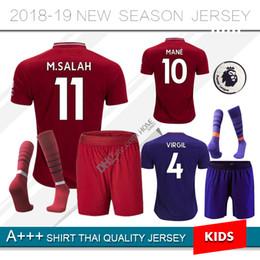 kit de crianças 18 19 M.SALAH home Camisas De Futebol 2018 2019 terceira  mane salah Virgil FIRMINO SHAQIRI longe meninos roxos camisas de futebol  camisas de ... 4021942f2aa00