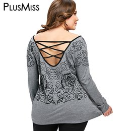24707ba68d5 PlusMiss Plus Size 5XL Sexy Open Back Lace Up Printed Top Women Clothing  Big Size Long Sleeve Backless Loose Blouse 2018 Blusas sexy plus size  blouses ...