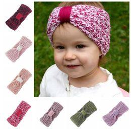 Wholesale Top Knots Hair Wholesale - Headband Baby Knit Crochet Top Knot Baby Girls Head wrap Hair Bands Ears Warmer Baby Headbands Accessories KKA4042