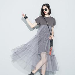 Robes à manches courtes en Ligne-2018 été nouvelle mode couture couture perspective de fil net couleur unie O- manches courtes lâche dress femme gros 3361