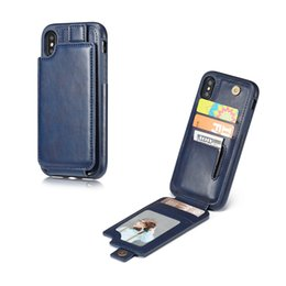 Wholesale Vertical Flip Wallet Case - Vertical Flip Down Leather Wallet Case Multi Card Slot Magnet Closure Photograph Frame For iphone X 8 7 Plus Samsung S8 OPPBag