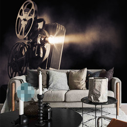 Wholesale movie canvas art - Hot Sale Custom Poster Art Vintage Player Movie Film Light Canvas Paintting 3D Wallpaper Wall Mural Living Room Background Home Decor