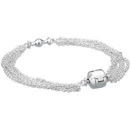 925 silberner armband kettenanhänger Rabatt 925 Sterling Silber Armband Multi-Strang One Clip Station Kette für Frauen passen Perlen Charms Anhänger DIY Schmuck