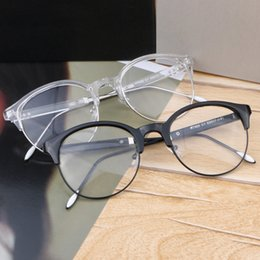 Vazrobe Round Glasses Frame Hombres Mujeres Transparent Black Eyeglasses  para Mujer Vintage Half Rim Female Myopia Gafas graduadas 16fc3dc5a1f4