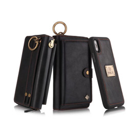Wholesale iphone leather case zipper - Double Zipper Leather Car Magnetic Wallet Holster Retro Pattern Case For Iphone X 8 7 6s Plus Samsung S8 PLUS S7 Edge Retailpackage