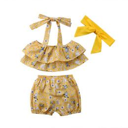 Toddler Summer Baby Girls Outfits vêtements Set 3Pc fleur jaune Dot  Butterfly Halter Top + Shorts ensemble mignon enfant fille vêtements 0924db13c