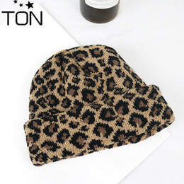 b7ca86353f536 Hot Sale Women Leopard Beanie Hat women Cap Spring Autumn Winter ladies  Hats  Caps Leopard Print Knitted Winter Female Hat