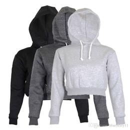 Tops negros lisos online-Full Hoodie Coats Black Autumn New Brief Ropa casual Mujer Ropa de damas Tops Plain Crop Top con capucha