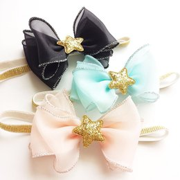 Wholesale Organza Gift Bows - 10pcs  Lot Glitter Gold Star Organza Hair Bow Stretchy Head Band Black Blue And Peach Birthday Party Elastic Hairbands Gift Band