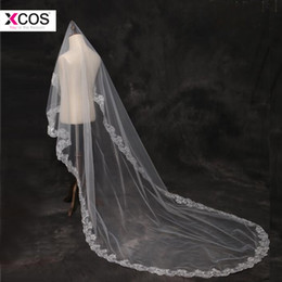 3 mètres blanc ivoire cathédrale mariage voiles 2018 long bord de dentelle voile de mariée mariage accessoires mariée mantilla voile de mariage ? partir de fabricateur