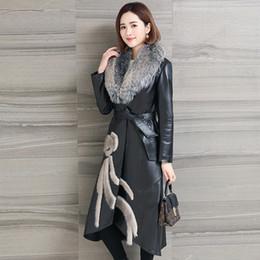Wholesale sheepskin fox fur coat - AYUNSUE 100% Real Sheepskin Leather Coat Genuine Leather Winter Warm Down jacket Women Fox fur collar jaqueta de couro MF071