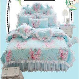 Wholesale korean duvet covers - Korean Pastoral Style 100% Coon Rose Printing White Lace Ruffled Bedding Set Princess Blue Duvet Cover Sheet Set 4pcs 3pcs