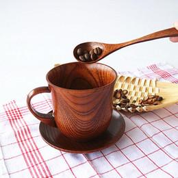 Copos de chá do estilo japonês on-line-Estilo japonês de Madeira Natural Cup + Pires + Colher Drinkware Set Xícara De Café Xícaras De Chá de Água Chá Ecológico Frete Grátis