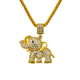 Wholesale Gold Crystal Elephant Jewelry - 2018 Hip Hop Pendant Crystal Necklace Bling Rhinestone Fashion Gold 75cm Long Chain Elephant Pendants & Necklaces Jewelry Gift
