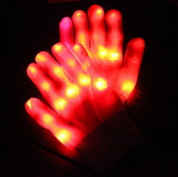 Rave Gloves Mitts intermitente Finger Lighting Glove party LED Light Mostrar mitones Venta al por mayor halloween rave guantes de fiesta Ghost pata guantes desde fabricantes