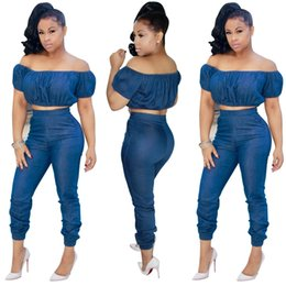 Wholesale Jean Rompers - 2018 new Off Shoulder Sexy jean Jumpsuits Two Piece Club Rompers Womens Jumpsuit Strapless Full Bodysuit Summer Overalls