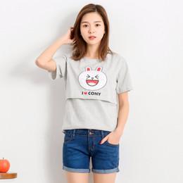 Pflegekleidung tragen online-Baumwolle Sommer Stillen Tops Tees Mutterschaft Pflege Kleidung Schwangere Frauen Stillen T-Shirt Maxi Premama Wear Kleidung