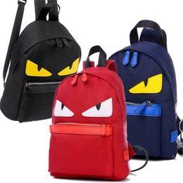 Wholesale eye backpack - Cute Eye Monster Nylon Backpack Brand Designer Women Shoulder Backpack Boys Girls Little Monster Schoolbag Angry Eyes Campus Bag