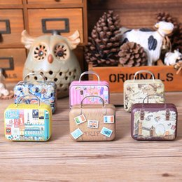 Wholesale Tin Box For Kids - Europe Style Vintage Suitcase Shape Candy Storage Box Elegant Wedding Favor Tin Box Organizer Retro Household Container For Kids Girls