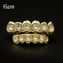 Wholesale Gold Teeth Styles - New Style Hip Hop Bling Bling Rhinestone TeethGrillz Gold Silver Color Top Bottom Grills Set Silicone Christmas Vampire Teeth