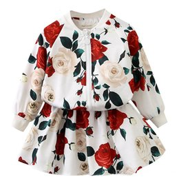 Wholesale Girl Rose Coat - Girls Clothing Dress Sets 2018 Fashion Girls Clothes Long Sleeve Floral Coats + Rose Floral Skirts 2 Pcs Kids Clothing Sets for 2Y-9Y