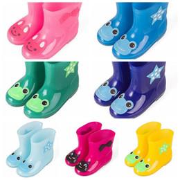 Wholesale Kid Rain Gear - 7 Colors 5 Sizes Rainbow Colors Jelly Rain Shoes Kids Catoon Waterproof Shoes Baby Rain Gear Cartoon Cute Rain Boots CCA8656 20pairs