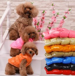 Wholesale Dog Down Coat - Dog clothes winter casual Puppy vest warm cotton dog clothing Down jacket winter pet apparel DHL free 8 Colors YW285