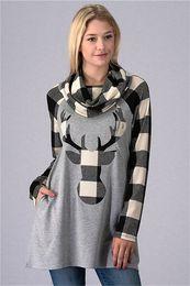 Ciervos de las muchachas top de la impresión online-Nueva ropa de navidad mujer gris rojo plaid sudadera con capucha de las muchachas ciervos sudaderas pullover hip pop tops sudaderas con capucha diseñador diseñador suéter capa