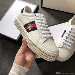 Wholesale Rubber Diamonds - New women fashion luxury designer sneakers with top quality real leather diamond casual luxury female shoes with bee loved for sale
