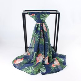 Wholesale white chiffon shawl - Flamingos with Leaves Prints Chiffon Scarves Shawl Beach Shawls Animal Style Scarf for Women Girl Ladies in Summer Spring, 6 Pieces