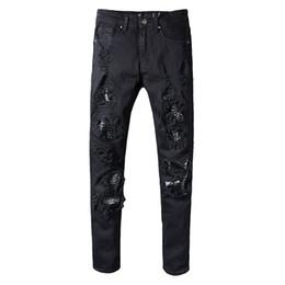 representa ropa Rebajas Pantalones de diseñador de ropa que representan al por mayor Aquaman para hombre delgado y recto motorista jeans ajustados hombres mujeres arrancados pantalones con escamas de pez