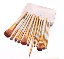 Wholesale Makeup Light Box - Makeup Tools Brushes Nude 12 piece Professional Brush sets Iron box DHL Freeshipping