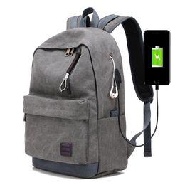 Wholesale Interface Travel - 2018 new tide men shoulder bag canvas travel backpack external usb charging interface with headphones hole student bag Y147
