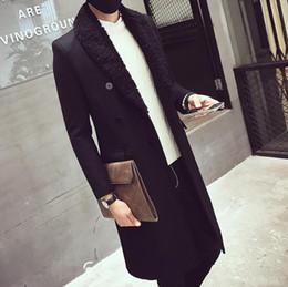 manteaux d'hiver manteau d'hiver Promotion HOMME Hiver Longues Parkas Gris Foncé Noir Col Revers Manteaux De Laine Homme Classique Mode Vêtements Livraison Gratuite