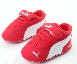 Solas das meninas moles on-line-Infantil criança Soft Sole Hook Loop Prewalker Sneakers Baby Boy Menina Berço Sapatos Recém-nascidos a 18 Meses