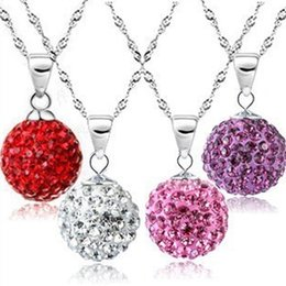 Wholesale Red Ball Chain - Diamond ball necklace Korean version of South Korea, Europe and the United States jewelry wholesale silver plated jewelry natural crystal Sh