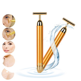 Wholesale Beauty Massager Gold - Hot Beauty Face Skin Care Tool Pro Slimming Face 24k Gold Lift Bar Vibration Facial Massager Energy Vibrating Bar