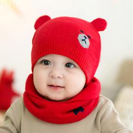 Двойные сплошные кольца онлайн-Унисекс медведь шапочки шляпы с двойным ухом и кольцо шарф набор Ребенок Ребенок медведь жаккард сплошной цвет зима теплая шапка 2 шт костюм