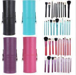Wholesale wholesale professional makeup brush holder - 12 PCS Makeup Brush Set+Cup Holder Professional 12 pcs Makeup Brushes Set Cosmetic Brushes With Cylinder Cup Holder
