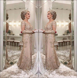 58861bc0d02 2018 Elegant Mermaid Mother Of The Bride Dresses V Neck Sheer Long Sleeves  Lace Appliques Beaded Party Evening Gowns Wedding Guest Dress