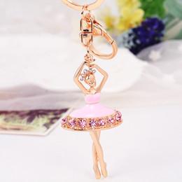 2019 llaveros de ballet Llaveros lindos del color del oro blanco esmalte rosado con Crystal Ballet Dance Keyrings Keyholder para el bolso del monedero de las mujeres Envío libre rebajas llaveros de ballet