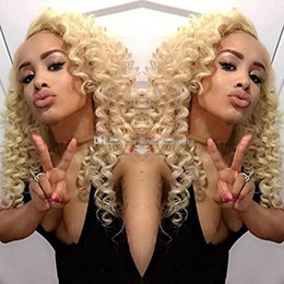 Wholesale 613 kinky curly hair - Natural Soft Kinky Curly Hair Lace Front Wig for Black Woman 12-26inch Blonde 613# Long Kinkys Curly Synthetic Wigs Heat Resistant