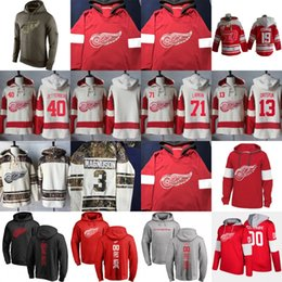 Wholesale Detroit Hoodie - Detroit Red Wings Hoodie Sweatshirts Zetterberg Larkin Nyquist Howard Howe Abdelkader Gustav Nyquist All Stiched Custom Any Name Any Number