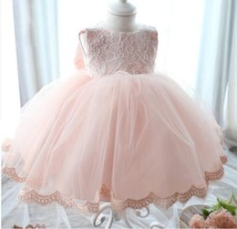 Wholesale korean style wedding gowns - Korean 0-24 Months Old Newborn Baby Girl Clothes Wedding Dresses Big Bow Back White Christening Dress Kids Clothing