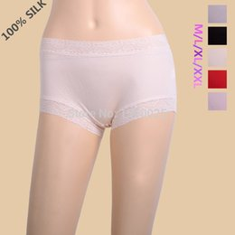 Wholesale Knitted Panties - Women Silk Knitted Boyshort Plus Size 100% Mulberry Silk Laciness Seamless Antibiotic Panties M L XL XXL Free Shipping