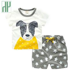 Wholesale Dog Girls Pants - Toddler boy summer clothes Cartoon tiger Bear fox dog children clothing T-shit+Pants Cotton girls clothing set 2 3 4 5 6 7 Years