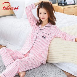 78f33d1c37 Bejirog bedgown button pajama set for women cotton sleepwear 2 piece  homewear plus size female pyjama suit in autumn pink nighty