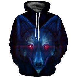 Красная глазка онлайн- New Men Women Red Eye Wolf 3d Hoodie Harajuku Men Cool Animal Hooded Hoodie Long Sleeve Funny Pullovers Tracksuits