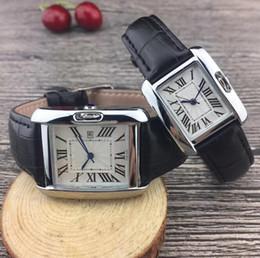 2020 orologi in pelle cinturino unisex Cartier Cinturino in pelle rettangolo casual Relogio Feminino Luxury Brand Lady Orologio da polso al quarzo orologi in pelle cinturino unisex economici