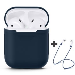 Wholesale iphone charge case - Silicone Case for AirPods with AirPods Strap, Shock Proof Silicone Protective Cover Shell For Apple AirPods Charging Case